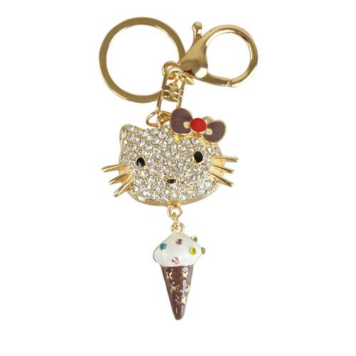 Rhinestone Bow Kitty Key Chain with Ice Cream Pendant Gold Brown