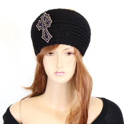 Knitted Black Headband with Beaded Cross