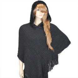 Hooded Knit Poncho with Fringe Black