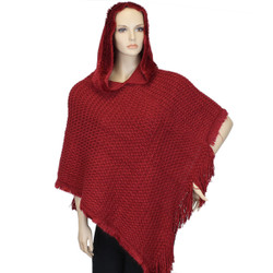 Hooded Knit Poncho with Fringe Red Wine
