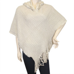 Hooded Knit Poncho with Fringe Khaki