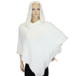 Hooded Knit Poncho with Fringe White