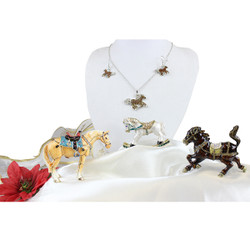 Assorted Horse Trinket Boxes and Matching Crystal Horse Necklace and Earrings Lot of 3