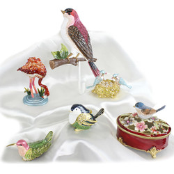 Assorted Bird Trinket Boxes and Wall Hook Lot of 5 Trinket Boxes and 1 Wall Hook