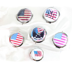 Assorted American Themed Compact Mirrors Lot of 6