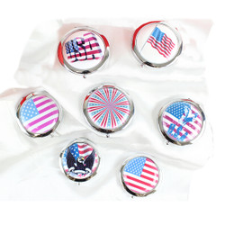 Assorted American Themed Compact Mirrors Lot of 7