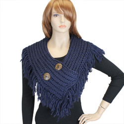 Cable Knit Button Collar Scarf With Fringe Navy