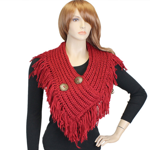 Cable Knit Button Collar Scarf With Fringe Red
