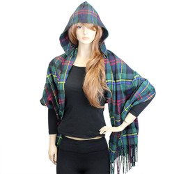 Plaid Hooded Scarf Wrap Green