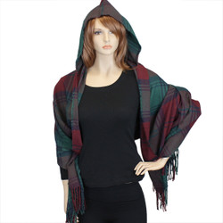 Plaid Hooded Scarf Wrap Green & Burgundy