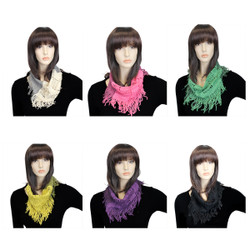 Assorted Lot of 6 Checkered Knit Small Infinity Scarf