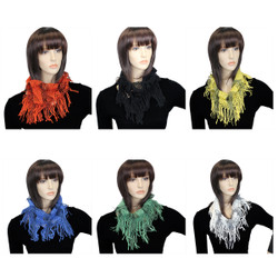 Assorted Lot of 6 Two-tone Tassels Small Infinity Scarf