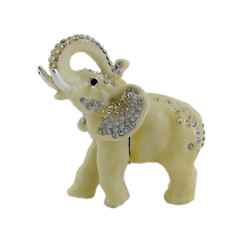 Majestic Elephant Trinket Box Bejeweled Ivory