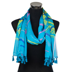 Caduceus Sheer Scarf with tassels Blue