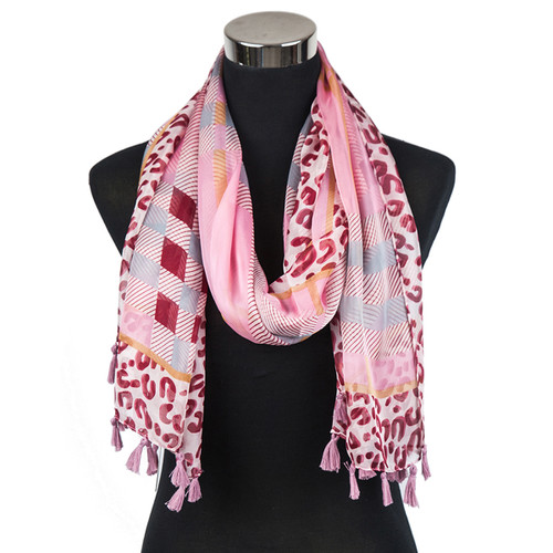Animal Print Plaid Scarf with Tassels Pink