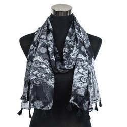 Paisley Design-Sheer Silk/Polyester Long Scarf Black