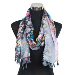 Abstract Splash Paint Scarf with Tassels Grey