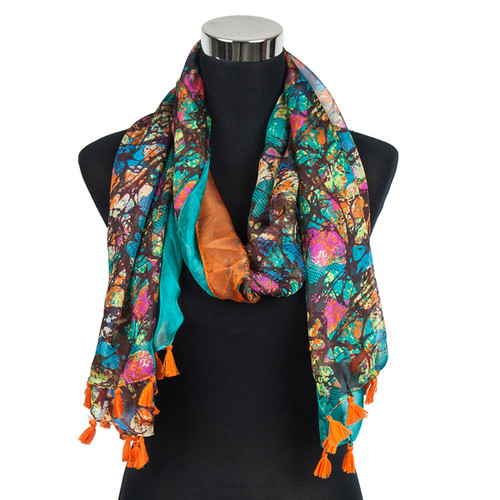 Abstract Splash Paint Scarf with Tassels Orange