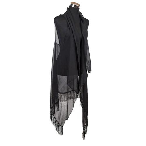 Chiffon Tassel Vest Wrap Black