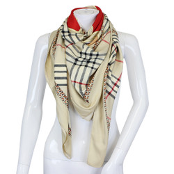 Horse and Carriage Haymarket Check Scarf Beige