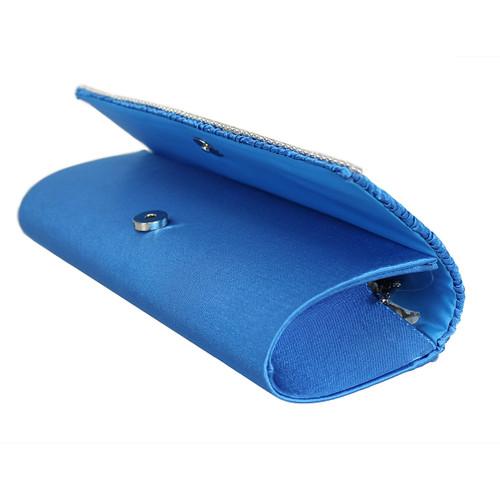 Blue Flap Clutch Purse Rhinestone Edge