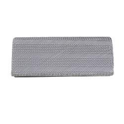 Silver Flap Clutch Purse Rhinestone Edge