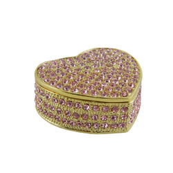 Bedazzled Heart Trinket Box Pink