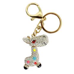 Rhinestone Giraffe Keychain Purse Charm Gold