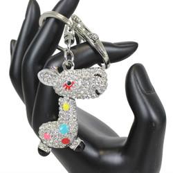 Rhinestone Giraffe Keychain Purse Charm Silver