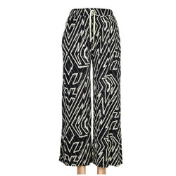 Black and Ivory Abstract Zig Zag Print Palazzo