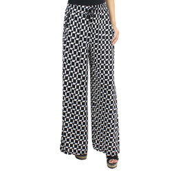 Black and White Trapezoid Print Palazzo