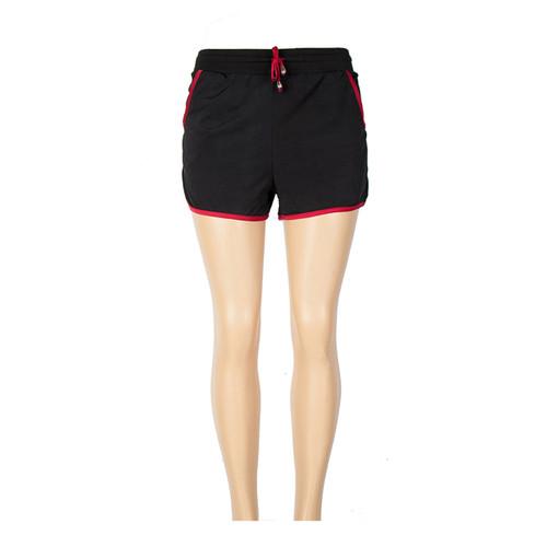 Black Active Shorts with Burgundy trim
