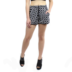 Black and White Trapezoid Print Active Shorts