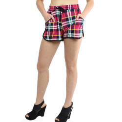 Multi-Color Plaid Print Active Shorts