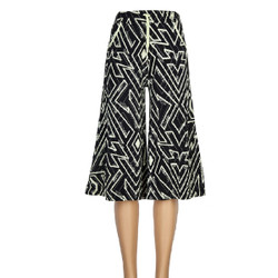 Black and Ivory Abstract Zig Zag Print Culottes