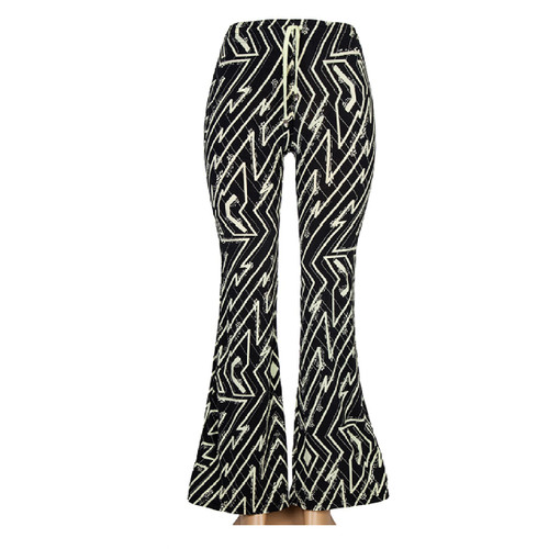 Black and Ivory Abstract Zig Zag Print Bell Bottoms