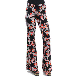 Black and Red Kaleidoscope Print Bell Bottoms