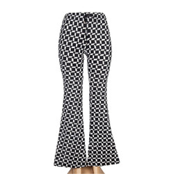 Black and White Trapezoid Print Bell Bottoms