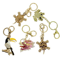 Lot of 5 Purse Charm Keychain Assorted Rhinestones