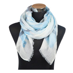 Criss Cross Print Viscose Scarf Blue