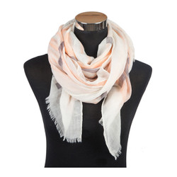Criss Cross Print Viscose Scarf Orange