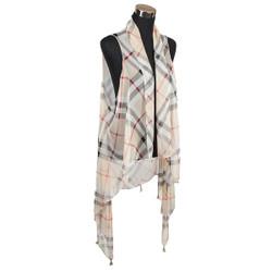 Haymarket Checker Chiffon Tassel Vest Wrap Beige