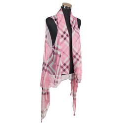 Haymarket Checker Chiffon Tassel Vest Wrap Pink