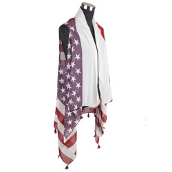 American Flag Chiffon Tassel Vest Wrap