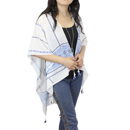 Blue Ruana Kimono with Tassels