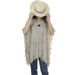 Taupe Tassel Poncho Swim Cover Up