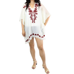 Burgundy Embroidered Fringe-Trim Poncho Cover up