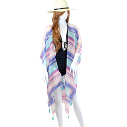 Multi-Color Ruana Tassel Cover Up Kimono
