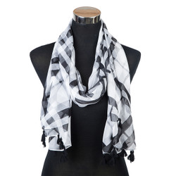 Haymarket Checker Scarf with Tassels Black