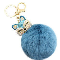 Rhinestone Fox Fur Pom Pom Keychain Purse Charm Turquoise